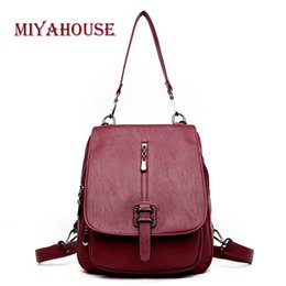 1d0e9498d830 Miyahouse England Style Multifunction Girls Backpack PU Leather Women s  school bag Flip Cover Zipper Lady Rucksack