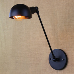 swing arm sconce lighting UK - LOFT Nordic Vintage Wall Lamp Classic Black Art Sconce Adjustable Arandela LED Swing Arm Wall Lights Lighting Fixtures E27