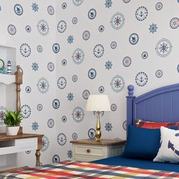 $enCountryForm.capitalKeyWord Australia - Large mural Mediterranean wallpaper boys child bedroom background wall non-woven sailboat blue circle cartoon decor wallpaper
