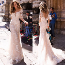 $enCountryForm.capitalKeyWord Australia - Wholesale- Full Lace Long Sleeve Mermaid Wedding Dress Scoop Neck Covered Button Tulle Long Beach Bohemian Bridal Gowns