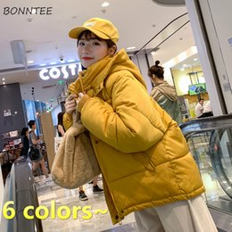 women korean winter parka coat Australia - Parkas Women Kawaii Short Style Solid Yellow Chic Harajuku Womens Winter Coat Hooded Loose 2XL Korean Daily Student Fashion HOT