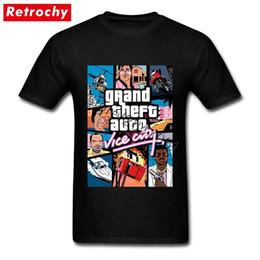 Tall Tee Men Canada - Dropshipping Grand Theft Auto Vice City T Shirt Gta Game T-shirts Men T-shirts Big Tall Pure Cotton Round Neck Tee Shirts J190525