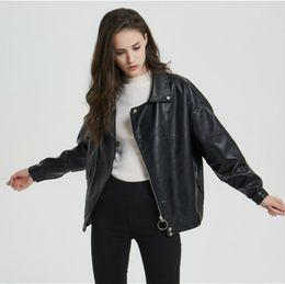 Discount womens faux pu leather jacket - Dropshipping Women's Multy Zipper Motorcycle Coat Womens 2019 Autumn Winter Biker Jackets Faux PU Leather Black Sho