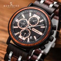 modern mans watch box NZ - Relogio Masculino BOBO BIRD Wooden Watch Men Top Brand Luxury Stylish Chronograph Military Watches in Wooden Box reloj hombre LY191206