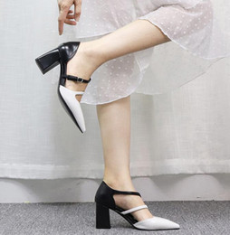 $enCountryForm.capitalKeyWord Australia - Female Designer Chunky Thick Heel Casual Belt Shoes Pointed Toe Color Matching Noble Dinner Dress Side Hollow Sandals