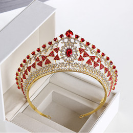 Wholesale Luxury Full Circle Tiaras Pageant Clear Austrian Rhinestones King Queen Princess Crowns Wedding Bridal Brides Crown Party HeadPieces 5 Color