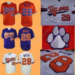 3d8f5eb628 NCAA College Clemson Tigers béisbol Jersey 28 Seth Beer Local Visitante  Blanco Púrpura Naranja Cosido