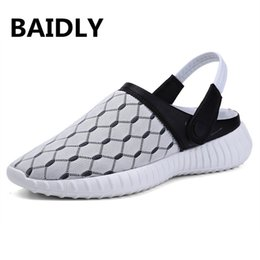 Gray Mens Summer Shoes Australia - Big Size Men Sandals Summer Breathable Air Mesh Men Lighted Slippers Outdoor Beach Mens Sandals Shoes Leisure Slippers