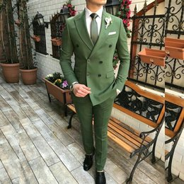 double button groom suits 2019 - Green Groom Wedding Tuxedos Double Breasted Peaked Lapel Mens Suits Best Man Formal Wedding Jacket(Jacket+Pants) discoun