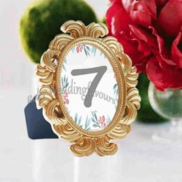 Gold Wedding Card Holders Australia - 30PCS Gold Baroque Photo Frame Place Card Holder Wedding Favors Bridal Shower Event Reception Table Decors Anniversary Party Giveaways