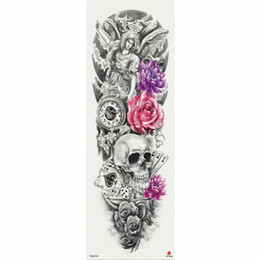 Chinese  1 Piece Temporary Tattoo Sticker Angel Skull And Flower Pattern Full Flower Tattoo With Arm Body Art Big Large Fake Tattoo manufacturers