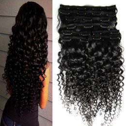 """Clip Human Hair Extensions Remy 24 UK - Hair clip human hair 8 Pieces Set Kinky Curly Brazilian Remy Weave Bundles Clip In Human Hair Extensions 10""""-26"""""""