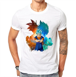 Men Hairs Australia - 100% Cotton Men 3d T Shirt Dragon Ball Z Goku Super Saiyan God Blue Hair Vegeta Print Cartoon Anime Summer Top Tee