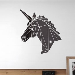 $enCountryForm.capitalKeyWord Australia - 38*40cm Large unicorn Acrylic mirror Wall Sticker Removable Double Sided Visual Pattern Home Decoration House Wallpaper free shipping 2wn633