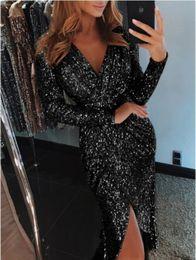 $enCountryForm.capitalKeyWord Australia - 2019 black Sparkling Long Sleeves Sequins Mermaid Prom Dresses Deep V Neck Beaded Stones Backless Sweep Train Party Evening Gowns