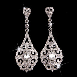 art deco woman Australia - SLBRIDAL New Arrival Art Deco Crystals Rhinestones Wedding Dangle Earrings Bridesmaids Earrings Bridal Drop Earrings Women