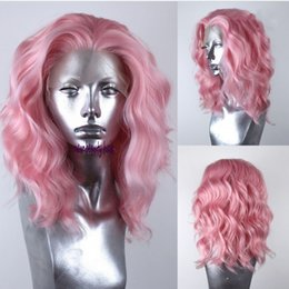 $enCountryForm.capitalKeyWord NZ - Fashion pink color brazilian full lace front wig short cosplay style water wave Synthetic lace Wig For White Women
