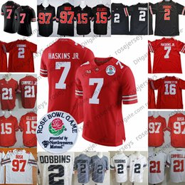 7f5715607 NCAA Ohio State Buckeyes  2 JK Dobbins  7 Dwayne Haskins Jr.  97 Nick Bosa   15 Elliott White Red Black 2018 Rose Bowl Jerseys