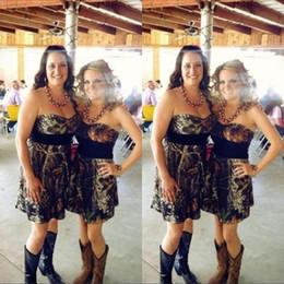 Cheap mini short party dress online shopping - Short Camo Bridesmaids Dresses Sexy A Line Strapless Black Sash Pleats Mini Simple Cheap Formal Wedding Party Gowns