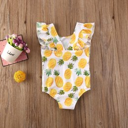 cute ruffle bikinis Australia - 2020 Cute Kids Children Baby Girl Ruffles Bikini Swimsuit Swimwear Fruits Print Sleeveless Bathing Suits Girl One-Piece Swimsuit