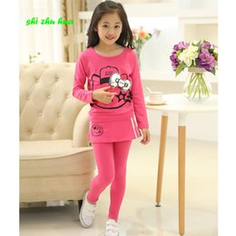 Wear Shirt For Girls Australia - Baby Girl Clothes Children's Wear Long Sleeves For T-shirt+ Pants Kt Cat Pattern Kids Fashion Girl Sportswear Suit 3-14 Year Old Y190522