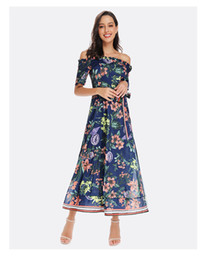 $enCountryForm.capitalKeyWord UK - Chiffon printed dress word collar belt holiday dress female European and American explosion models Europe and the United States e
