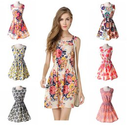 Wholesale YOUNG VIVA Women Beach Short Dresses Sleeveless Sexy Loose Floral Print Vest Dress