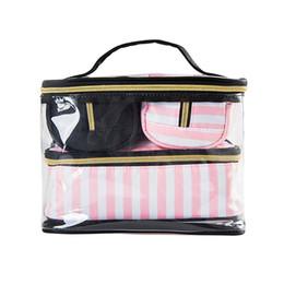 Pink Transparent Cosmetic Bag Australia - Pink Dots Transparent Storage Bags Set Organizers Women's Cosmetic Toiletries Makeup Travel Zipper Pouch Briefs