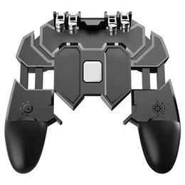 Discount mobile controller - Mobile PUBG Controller Gamepad Turnover Button Six Fingers Operating Gamepad Peripherals PUBG Controller for IOS Android