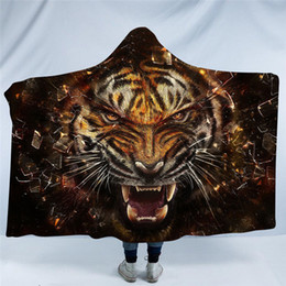 $enCountryForm.capitalKeyWord Australia - Tiger Throw Blanket Thickening Printed Pattern Sofa bed plane Travel Bedding Hooded Blanket With Cap Warm Home Textile 150*200cm