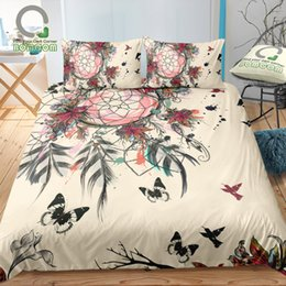 $enCountryForm.capitalKeyWord Australia - BOMCOM 3D Digital Printing Bedding Set Dream Catcher Butterflies Hummingbird Lily 3-Pieces Duvet Cover Sets 100% Microfiber