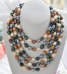 "coffee pearl Australia - FREE SHIPPING + 100"" 8-9mm black coffee pink green baroque freshwater pearl necklace"