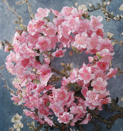 cherry blossom garland wholesale Canada - Cherry Blossoms Wreath Wedding Arch Diy Decoration Artificial Sakura Flowers Home Party Door Decor Wall Garland Wreaths