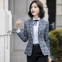 Ladies wear bLazers online shopping - Fanco Soft and Comfortable High quality Plaid Jacket with Pocket Office Lady Casual Blazer Women Wear Single Button Coat