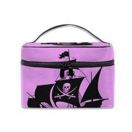 $enCountryForm.capitalKeyWord Australia - Cosmetic Bag Pirate Ship Wall Art Sticker Multifunction Dual Compartment Portable Waterproof Cosmetic Bag