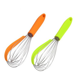 wholesale wire whisk UK - Stainless Steel Whisk Kitchen Egg Frother Milk Beater Blender Colorful Silicone Balloon Wire Whisk Mixer Kitchen Utensils