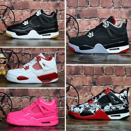 $enCountryForm.capitalKeyWord NZ - Cheap womens Jumpman 4 IV basketball shoes 4s Denim Black Cat Fire red Bred Oreo White J4 sneakers boots for youth kids baby boys Girls
