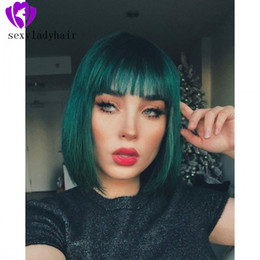 $enCountryForm.capitalKeyWord Australia - High quality dark green color brazilian lace wig cosplay style Short Wig with Oblique Bang straight Synthetic Wigs for Women