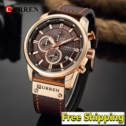 men watch leather curren Australia - Curren Watches Men 2019 Classic Male Wristwatch Mens Leather Belt Sport Waterproof Quartz Chronograph Watch Man 2019