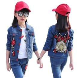 $enCountryForm.capitalKeyWord NZ - Girls Denim jackets for girls Coats Autumn 2019 New Children girl embroidered Jackets Kids outwear denim clothes 4 6 8 10 years