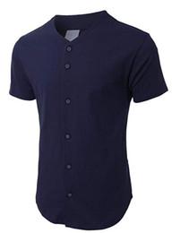 $enCountryForm.capitalKeyWord Australia - Mens Baseball Team Jersey Button Down T Shirts Plain Short Sleeve Top navy jerseys