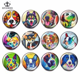$enCountryForm.capitalKeyWord Australia - 12pcs lot Mix Cute Dog Cartoon Pattern Glass Beads Charm 18mm Snap Button DIY Charm Bead For Bracelets Jewelry Making KG0027