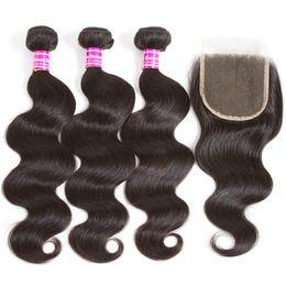 Black Blocks Australia - Human Hair Body Wave Hair Curtain 4*4 Lace Block Human Hair Wig Combination brazilian virgin black bundles Weaves