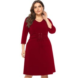 78e9e930da 2019 spring Europe and America fat mm large size women s dress Lace-up  waist cropped sleeves loose large size women s dress