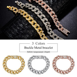 Fix Chain Australia - Shiny Zircon Metal Buckle Cuban Chain Unisex Europe Hip-Hop Bracelet Fixing Color Women Men's Bracelet Jewelry Accessories