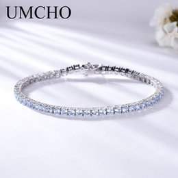 $enCountryForm.capitalKeyWord NZ - Umcho Luxury Created Nano Sky Blue Topaz Jewelry Real 925 Sterling Silver Bracelets & Bangles Romantic For Women Gifts T190702