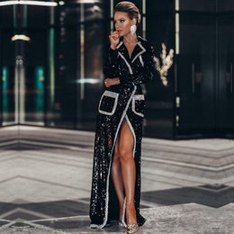 New treNch online shopping - 2019 New Spring Women Fashion Coats Black Sequin Deep V Long Sleeve Double Breasted Long Style Coat Women Maxi Trench Coat