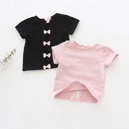 Kids Backless Clothes Australia - Korean Baby Girls Summer Unique Bow Backless T-shirts Children Clothes for Girls Pink Bowknot Short Sleeve Kid Shirts Round Collar Tops 2019