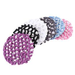 $enCountryForm.capitalKeyWord Australia - 1Pc Mesh Hair Rope Women Hair Bun Cover Snood Pearl Ballet Dance Skating Net Skating Crochet Accessories Headwear for Woman