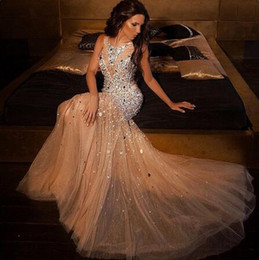 Sparkly Champagne Tulle Australia - Stunning Champagne Long Prom Dresses 2019 Crystal Bodice Sheer Neck Tulle Mermaid Rhinestones Beaded Sequins Sparkly Evening Gowns